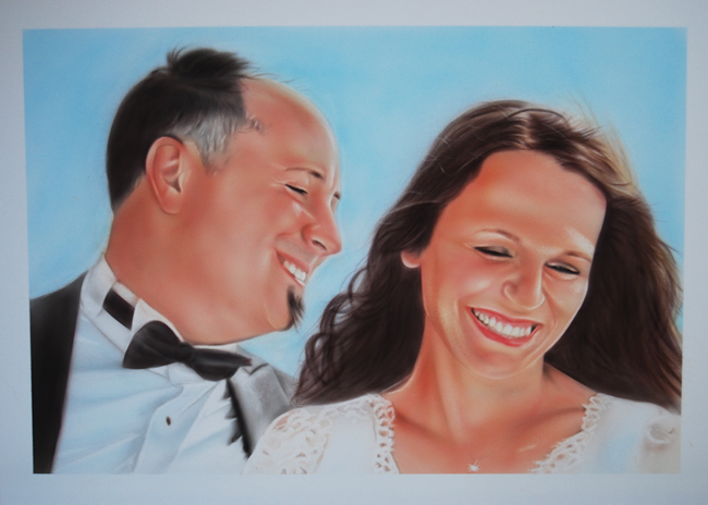 Portrait of wedding couple
