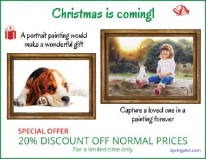 20% discount on Portrait Paintings for Christmas